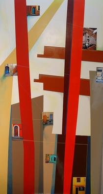 Christian Culver; DoorsWindows 1, 2007, Original Painting Oil, 33 x 60 inches. Artwork description: 241  Oil on wood panel with architectural images applied. ...