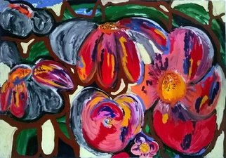 Celine Bron; FLOWERS, 2015, Original Painting Acrylic, 45.6 x 35.3 inches. Artwork description: 241  FLOWERS GREEN PINK RED ORANGE CELINEBRON ...