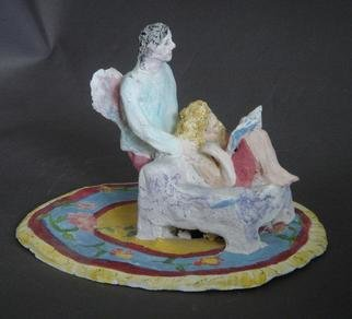 Bobbie Newman; Her Guardian Angel, 2005, Original Sculpture Ceramic, 4 x 3 inches. Artwork description: 241 Female Lover reading a book in a chair with winged male watching over her. Stained bisque ware....