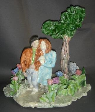 Bobbie Newman; Lovers In Woods, 2005, Original Sculpture Ceramic, 8 x 8 inches. Artwork description: 241 Glazed, Colorful, Romantic - Clinging Lovers walking in woods, with tree and many flowers...