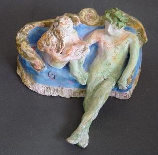 Bobbie Newman; The Story, 2005, Original Sculpture Ceramic, 5 x 5 inches. Artwork description: 241 Nude lovers on an ornate couch, the male wearing a crown and telling a story, the female listening intently - Stained Bisque ware....
