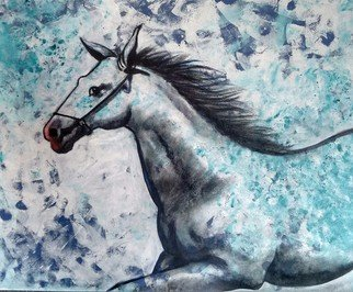 Chaitan Bhosale; Horse, 2015, Original Painting Acrylic, 36 x 30 inches. Artwork description: 241  They are running and thinking about way and goal. horse are not confirmed a way ...