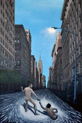 Chandle Lee; 5th Avenue Rat Race, 2009, Original Painting Oil, 24 x 36 inches.
