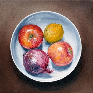 Chandle Lee; Fruit Bowl, 2009, Original Painting Oil, 12 x 12 inches.