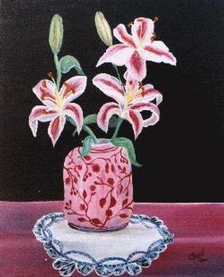 Chantal Powell; Pink Lilies, 1999, Original Painting Oil,  12 inches. Artwork description: 241 Oil on canvas...