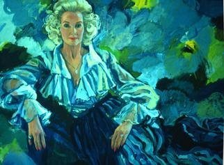 Doyle Chappell; Germaine Magnuson, 1989, Original Painting Acrylic, 48 x 36 inches. Artwork description: 241 Germaine had a show for me in the U. S. Capitol after I painted Senator Warren Magnuson.  Blue is her favorite color.  ...