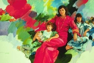 Doyle Chappell; Lynda Johnson Robb And Da..., 1984, Original Painting Acrylic, 72 x 50 inches. Artwork description: 241 This portraits of Lynda with her girls was commissioned by Lady Bird Johnson.  The girls listened to repeated tapes of