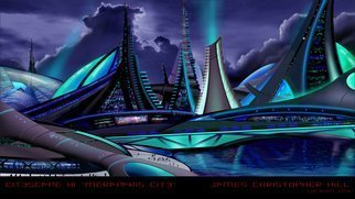James Hill; Meraparis City , 2012, Original Digital Art, 20 x 10 inches. Artwork description: 241  Futuristic City Designs, Sci- Fi, Architecture, Power, Solar, Wind, Concept Design, Modern City, Technology, Skyscrapers, Sustainable, Blue, Laser, Tesla ...