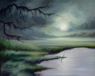 James Hill; Moon Over Wadmalaw Island, 2009, Original Painting Oil, 20 x 16 inches.