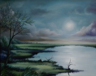 James Hill; Moon Over Wadmalaw Marsh, 2009, Original Painting Oil, 20 x 16 inches.