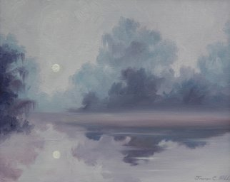 James Hill; Mystical Moonlight, 2009, Original Painting Oil, 14 x 11 inches. Artwork description: 241  Magical moonlight over water ...