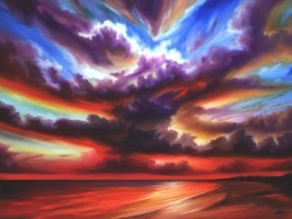 James Hill; Skyburst , 2010, Original Painting Oil, 36 x 48 inches. Artwork description: 241 Original Oil Painting, Sunrise, Sunset, Ocean, Sky, Shoreline, Shore, Sea, Water, River, Clouds, AcCloudscapes, morning, evening, red, yellow, orange, blue, green, light, power, God, Love, Energy ...
