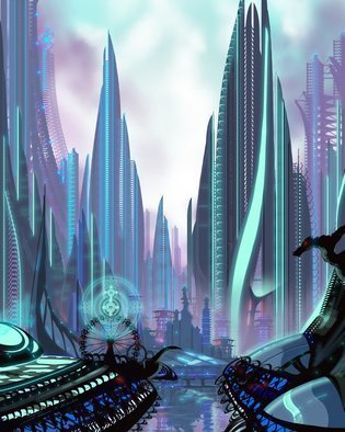 James Hill; Transia CIty, 2011, Original Digital Art, 16 x 20 inches. Artwork description: 241  Futuristic City, modern architecture, organic design, solar, wind power, Spires, Skyscrapers, Gothic, River, Glass, Crystal, Futurism, New Design, Architectural Design Modern...