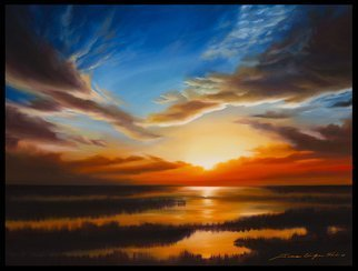 James Hill; Tranquil Sunset, 2007, Original Painting Oil, 36 x 24 inches. Artwork description: 241 Sunset, Sunrise, Marsh, Wetlands, Charleston, South Carolina, SouthEast, Sky, Skyscape, Romance, Ocean, Lowcountry, Water, Sea, Seascape, River...