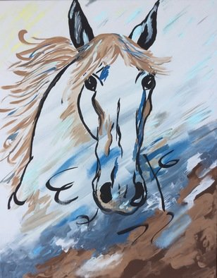 Charlotte  Reber; Wild horse, 2017, Original Painting Acrylic, 16 x 20 inches. Artwork description: 241 Horse, abstract, wind, ...