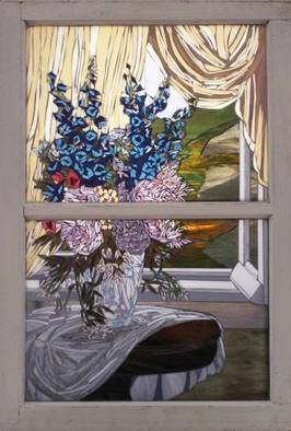 Chris Heisinger; Peonies In The Sun, 2007, Original Mosaic, 18 x 30 inches. Artwork description: 241  Stained Glass Mosiac ...