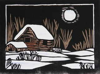 Chris Heisinger; Winter Moon, 2008, Original Printmaking Woodcut, 8 x 6 inches. Artwork description: 241  Hand printed - Hand ColoredEach print is unique ...