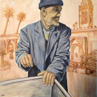 Chen Bachar; The Fisher Man, 2012, Original Painting Oil, 60 x 60 cm. Artwork description: 241  A moment i had in morocco, capturing everyday struggle of the common man, the Fisher man, while overlooking the old city of Casablanca.   ...