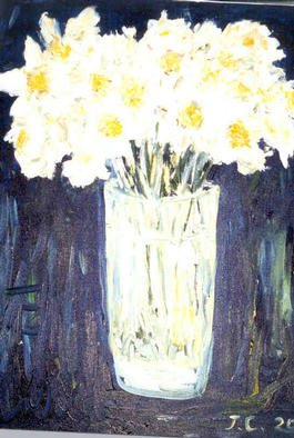 Joshua Cheng; Daffodil, 2002, Original Painting Oil, 20 x 16 inches.