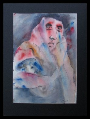 George Chernoles; Angora, 2004, Original Watercolor, 29 x 41 cm. Artwork description: 241  sad women ...