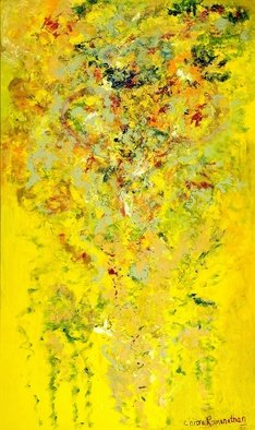 Chitra Ramanathan; Celebration, 2009, Original Painting Other, 48 x 60 inches. Artwork description: 241  Mixed media large yellow painting on stretched canvas.  ...