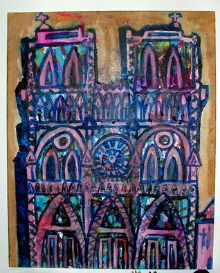 Chizz Chizz; The Bells Of Notre Dame , 2006, Original Painting Oil, 45 x 90 cm. Artwork description: 241  a painting of notre dame cathedral in paris, using text from the story of the hunch back of notre dame pasted behind a charicature of this iconic buiding.  ...