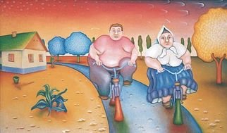 Jan Chlpka; On The Way Home, 1995, Original Painting Oil, 98 x 58 cm.