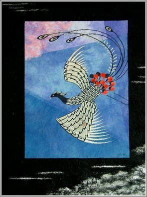 Choko Nakazono; Hooh SUNAGO, 2011, Original Mixed Media, 510 x 600 mm. Artwork description: 241   Hooh means the Chinese phoenix in Japanese.It' s believed the fortunate bird.     ...