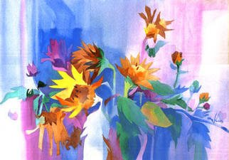 Kah Wah Chong; Chrysanthemum4, 2003, Original Watercolor, 33 x 20 inches.