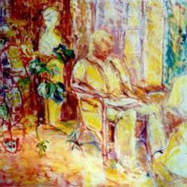 christopher english, , , Original Painting Oil, size_width{Alf_reading_the_paper-965175982.jpg} X 30 inches
