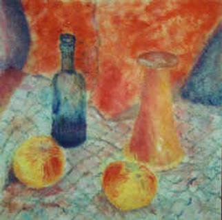 christopher english; Bottle And Apples, 2000, Original Painting Oil, 20 x 20 inches. Artwork description: 241 Oil colour on canvas...