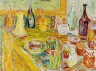 christopher english; Cups And Saucers Among Bottles, 2000, Original Painting Oil, 20 x 18 inches. Artwork description: 241 Oil colour on canvas...