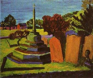 christopher english; Grave Yard In Harrogate Uk, 2000, Original Painting Oil, 20 x 18 inches. Artwork description: 241 Oil colour on board...