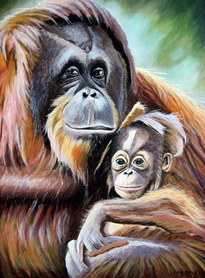 Chris Chalk; Bad Hair Day, 2009, Original Painting Oil, 18 x 24 inches. Artwork description: 241  Oil on canvas - There are some great colours in this painting of a mother and baby Orangutan. The expressions on their faces are quite different form one another. The babies being quite coy and apprehensive, where as the mother has a proud but. . come any closer and ...