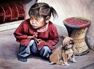 Chris Chalk; Best Friends, 2008, Original Painting Oil, 24 x 18 inches. Artwork description: 241 Oil on canvas - I loved painting this portrait of a little Tibetan girl and her dog. I guess it' s a portrait and a pet portrait all in one really. It' s bigger than some of my paintings at 24 by 18 inches, but I needed to ...
