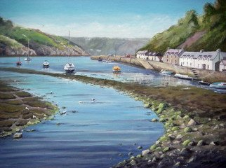 Chris Chalk; Fishguard Harbour, 2010, Original Painting Oil, 24 x 18 inches. Artwork description: 241  Oil on canvas - As primarily a landscape artist I've painted this scene at Fishguard harbour in Pembrokeshire before but not on such a large scale. There' s quite a lot going on in this painting and the larger size canvas allowed me put this in without ...