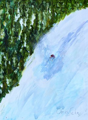 Chris Jehn; Extreme Ski, 2018, Original Painting Acrylic, 18 x 24 inches. Artwork description: 241 Down hill skier, in back country. All alone. Used paint that contains mica so shines like sun reflecting off fresh snow. ...