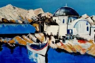 Christian Mihailescu; Archipelago Harbor, 2018, Original Painting Acrylic, 24 x 16 inches. Artwork description: 241 Greece, islands, old churches, and crude blue. ...