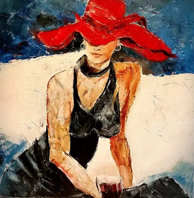 Christian Mihailescu; Lady With The Red Hat, 2019, Original Painting Acrylic, 24 x 24 inches. Artwork description: 241 ORIGINAL ACRYLIC PAINTING on CANVAS Size: 24x24   Date: 2011Medium  original : acrylic   varnish on gallery stretched cotton canvas  staples are on back, not on sides . Painted sides - can be exposed without frame .Price: 445  + shipping Additional Info: - On demand i? 1/2different size - yes- signature- front and back- title ...