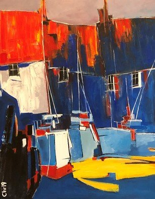Christian Mihailescu; Old Harbor Boats, 2019, Original Painting Acrylic, 24 x 30 inches. Artwork description: 241 Old boats in the old harbor...