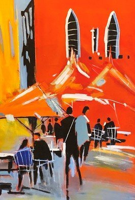 Christian Mihailescu; Somewhere In Tuscany, 2019, Original Painting Acrylic, 18 x 24 inches. Artwork description: 241 Summer time in Tuscany  let s say Luca . Abstract silhouettes at the terrace under umbrellas.  ...
