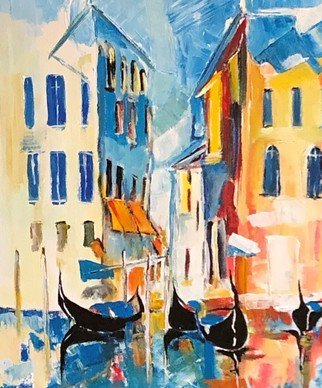 Christian Mihailescu; Venice, 2019, Original Painting Acrylic, 18 x 24 inches. Artwork description: 241 Luminous, modern landscape in Venice. Old buildings, gondolas, and dreams. Mostly knife application. ...