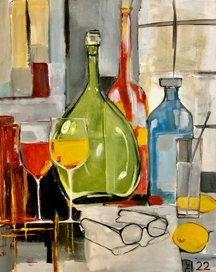 Christian Mihailescu; Winter Indoor 2, 2020, Original Painting Acrylic, 16 x 20 inches. Artwork description: 241 Abstract bottles and glasses. Meditation...