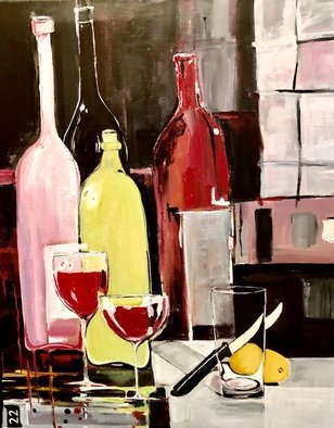 Christian Mihailescu; Winter Indoor Reflexions, 2020, Original Painting Acrylic, 16 x 20 inches. Artwork description: 241 Abstract bottles and glasses - indoor reflexions near the window. ...