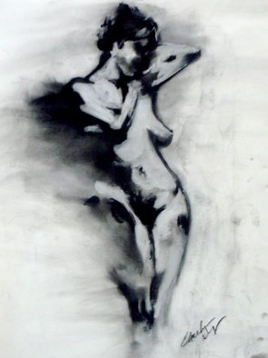 Christian Draeger; After Henry Yan, 2010, Original Drawing Charcoal, 18 x 20 inches. Artwork description: 241  nude, female   ...