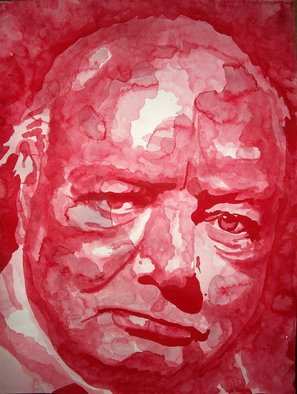 Christian Draeger; Winston Churchill, 2010, Original Watercolor, 18 x 20 inches. Artwork description: 241    inkwash, water color, portraits, people       ...