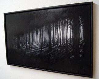 Christian Klute; In The Woods, 2016, Original Painting Oil, 80 x 50 cm. Artwork description: 241  Painting of a dark forrest Oil on WoodA | 80x50cm Framed in a black Floater Frame | forrest dark black light trees gothic monochrome atmospheric woods painting  ...