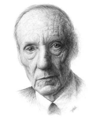 Christian Klute; William Burroughs, 2016, Original Drawing Graphite, 40 x 50 cm. Artwork description: 241  Graphite on Paper | 40c50cm | william s. burroughs portrait realism impressionism black and white scratches ...