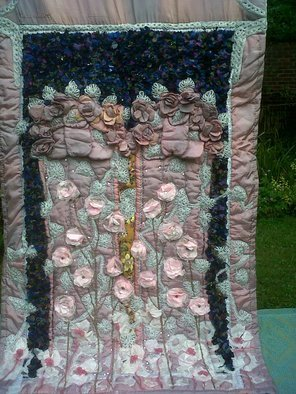 Christine Cunningham; Angel Wings, 2017, Original Textile, 44 x 71 inches. Artwork description: 241 Abstract creation of the gates of Heaven, created from quilted padded applique 3D Angel Wings adorned in delicate lace and silk flowers, and light reflective sequins.  A thunderous sky overhead captures the emotional trauma surrounding death, created from scraps of fabrics, hand stitched using a tatty matting ...