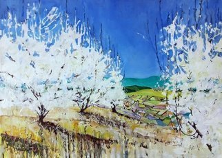 Chris Walker; Abloom, 2019, Original Painting Oil, 70 x 50 cm. Artwork description: 241 Abloom - Cerisiers et Gordes Oil on stretched canvas  70cm x50cm x 1. 7cm Viewing Gordes from a distant hilltop through the blooming cherry orchard. cherry almond luberon provence blossom...